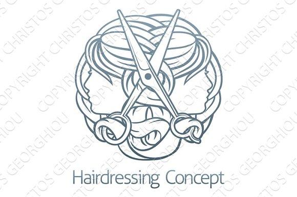 Faces Scissors Hair Stylist Hairdresser Concept