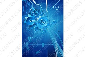 Gears and Cogs Blue Business Background