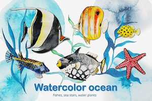 Watercolor ocean (vector set)
