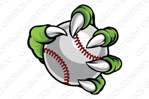 Monster or animal claw holding Baseball Ball