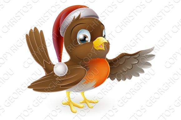Santa Hat Christmas Robin