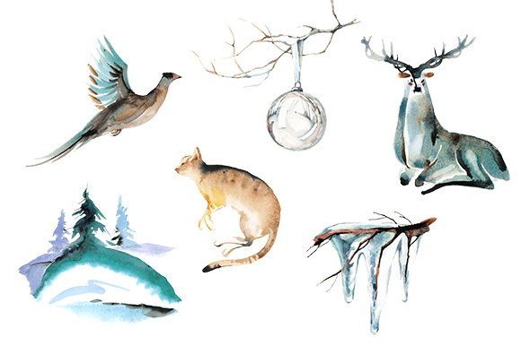 Winter animal watercolor clipart set in Illustrations