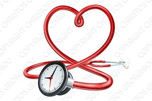 Stethoscope Clock Heart Concept