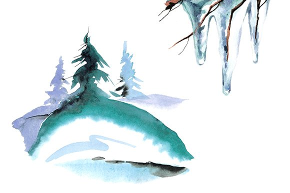 Winter animal watercolor clipart set in Illustrations - product preview 2