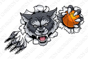 Wolf Basketball Mascot Breaking Background