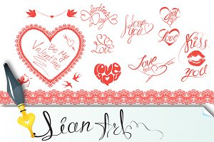 Valentine`s Day design elements.