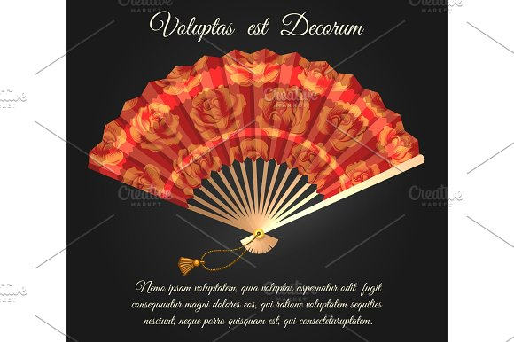 Rose flowers chinese folding fan poster