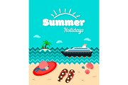 Summer holiday poster vector template