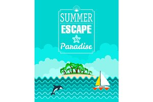 Tropical beach poster, Summer Escape