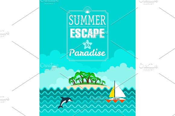 Tropical beach poster, Summer Escape
