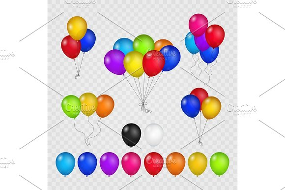 Colored balloons on transparent background