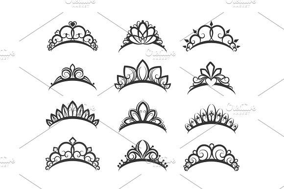 Beautiful queen tiaras set in Objects