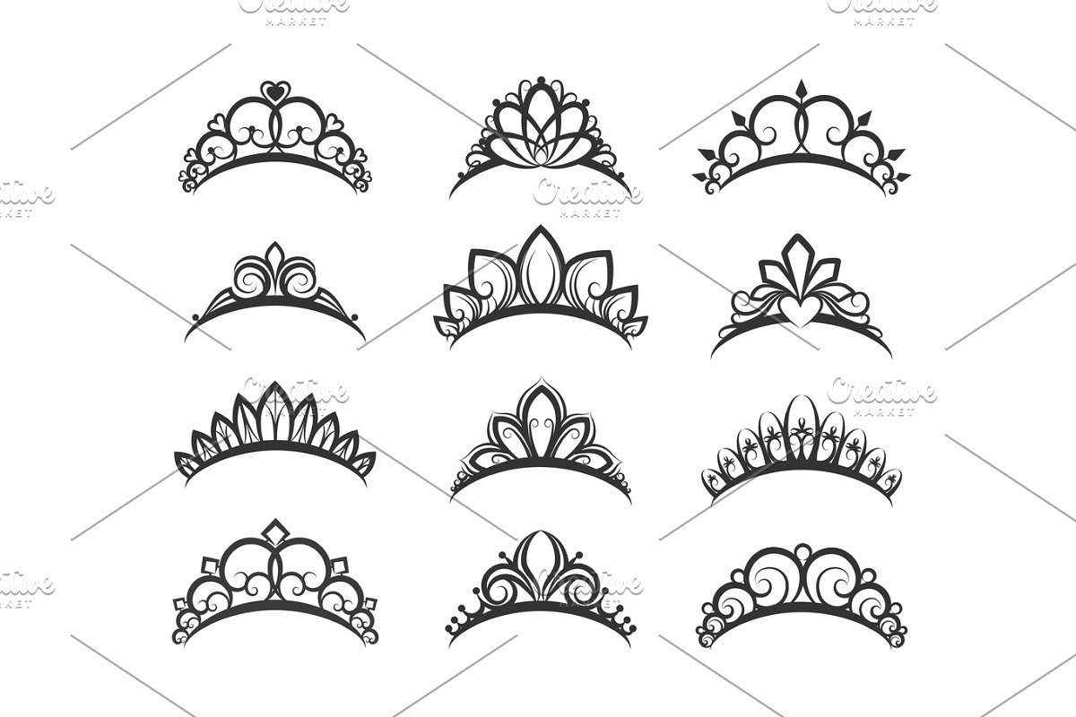 Beautiful queen tiaras set in Objects - product preview 8