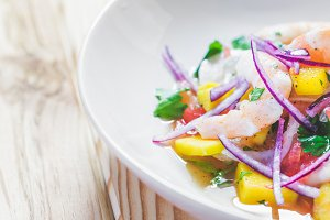 Shrimp and Mango Ceviche.