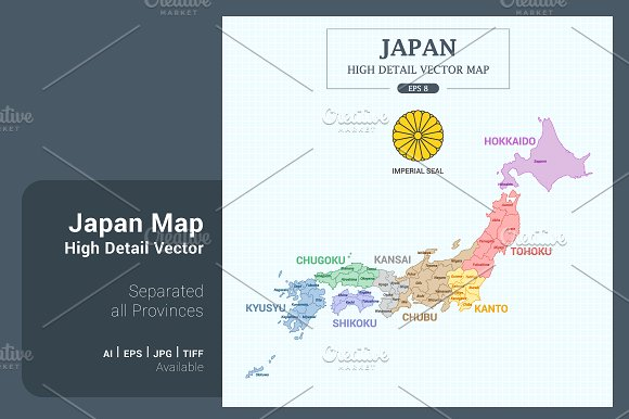Japan Map Color Separated Provinces