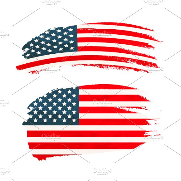 Brush Stroke With USA National Flag