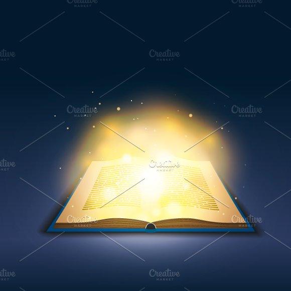 Open Book With Magic Golden Light