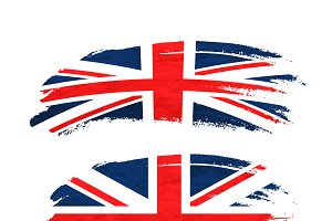 Brush stroke with UnitedKingdom flag