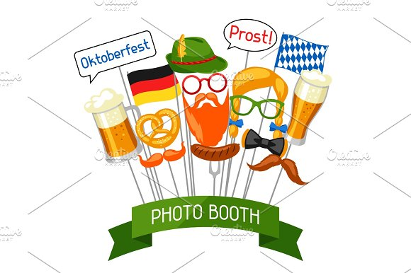 Set Of Oktoberfest Photo Booth Props Accessories For Festival And Party