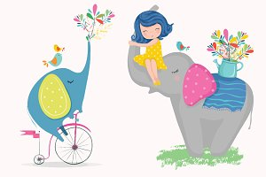 Cute girl and cartoon elephant