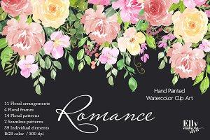 Watercolor floral Clip Art -Romance