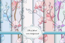 Set of four floral seamless patterns