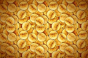 Bright glossy ancient golden coins