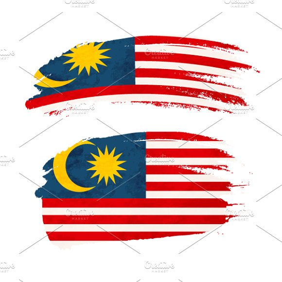 Brush Stroke With Malaysia Flag