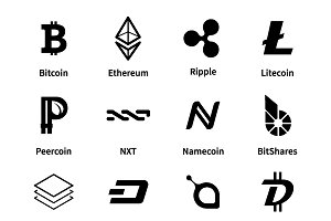 Set of popular cryptocurrency coins