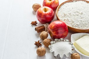 Ingredients for baking. Selection for Autumn pie or muffins with Apples and cinnamon, selective focus