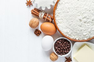 Ingredients for baking. Selection for cookies or muffins with chocolate drops