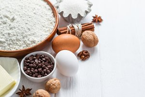 Ingredients for baking. Selection for cookies or muffins with chocolate drops, selective focus