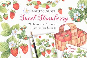 -40% OFF-Sweet Watercolor Strawberry