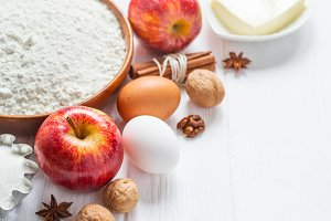 Ingredients for baking. Selection for apple pie or cakes, selective focus