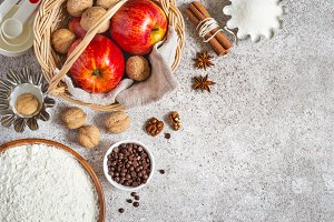 Ingderients for autumn or winter baking with apples and spices