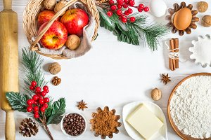 Ingredients for winter New Year's baking. Christmas food background