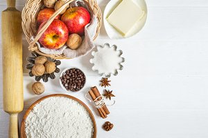 Ingredients for autumn baking. set of products for apple cakes or pie