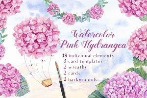 -40% OFF- Watercolor Pink Hydrangea