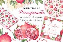 Watercolor Pomegranates