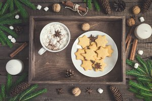 Gingerbread Cookie in the form of stars and cup of cocoa on rustic tray. Christmas food background