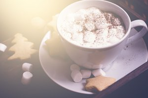 cup of hot cocoa with marshmallow and gingerbread cookies. Christmas food background.