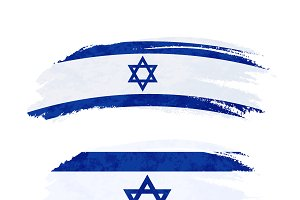 Brush stroke with Israel flag