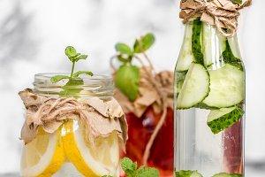 Detox summer drink with fruit