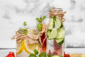 Detox summer drink with fruit