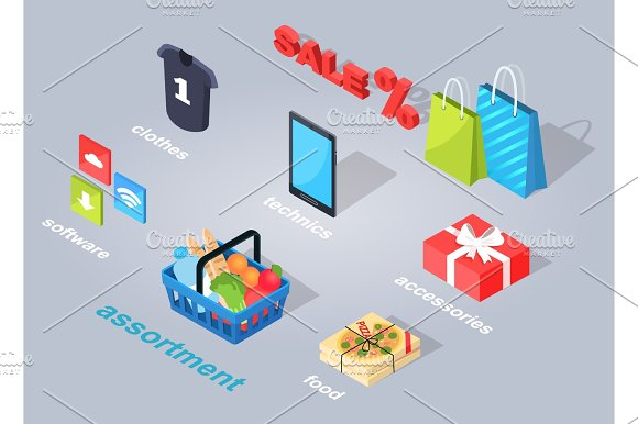 Set Of Electronic Commerce Flat And Shadow Theme