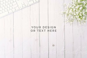 Stock Photo | Floral Desk Mockup