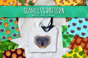 Tropical leaves and animals pattern