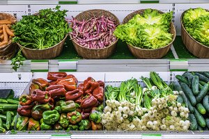 Fruits and vegetables on a supermarket