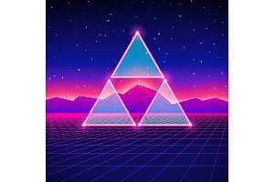 Retro styled futuristic landscape with triangles and shiny grid