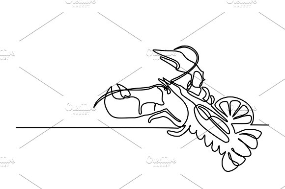 Grilled Lobster Continuous Line Drawing